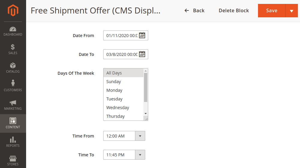 Magento 2 CMS block display time