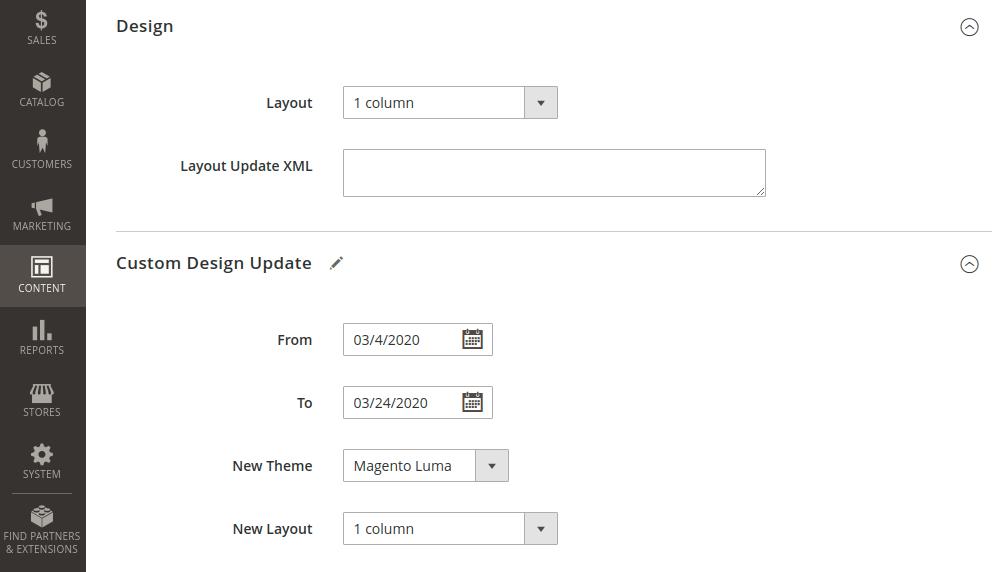 Magento 2 CMS Page Design