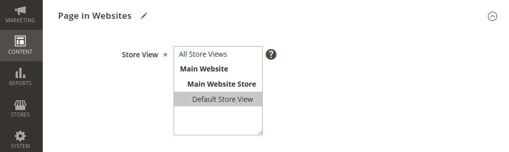 Magento 2 CMS Page in Websites