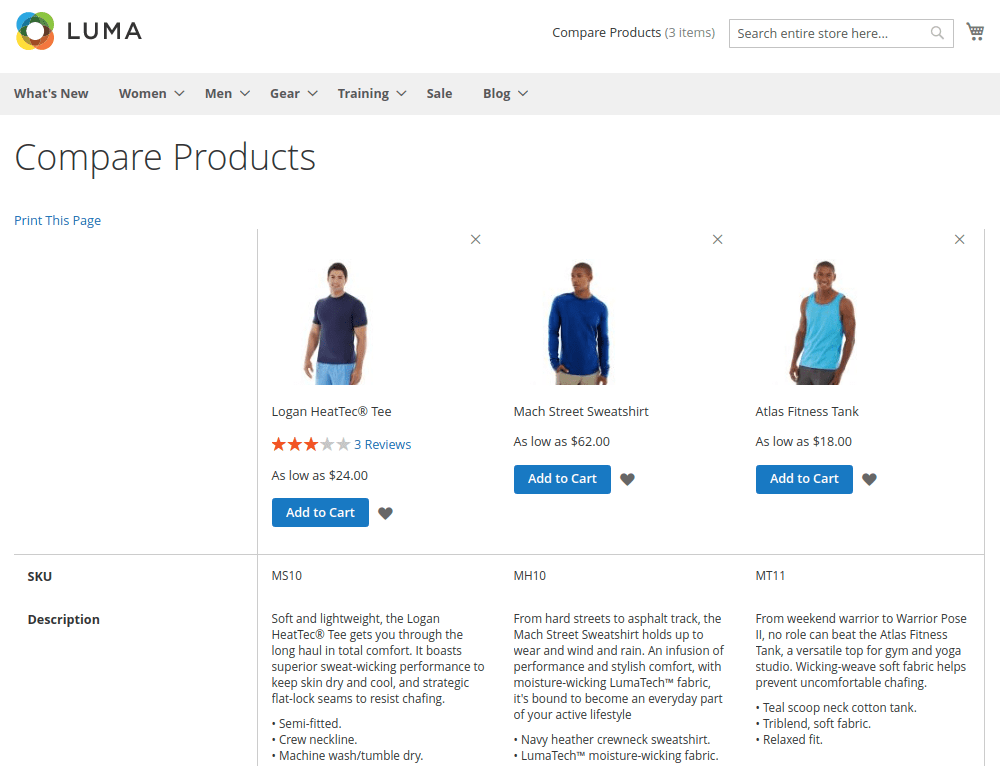 Compare Products Page