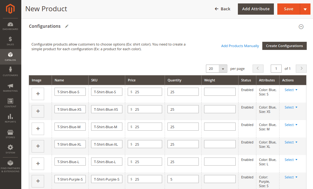 Magento 2 Configurable Product Configurations