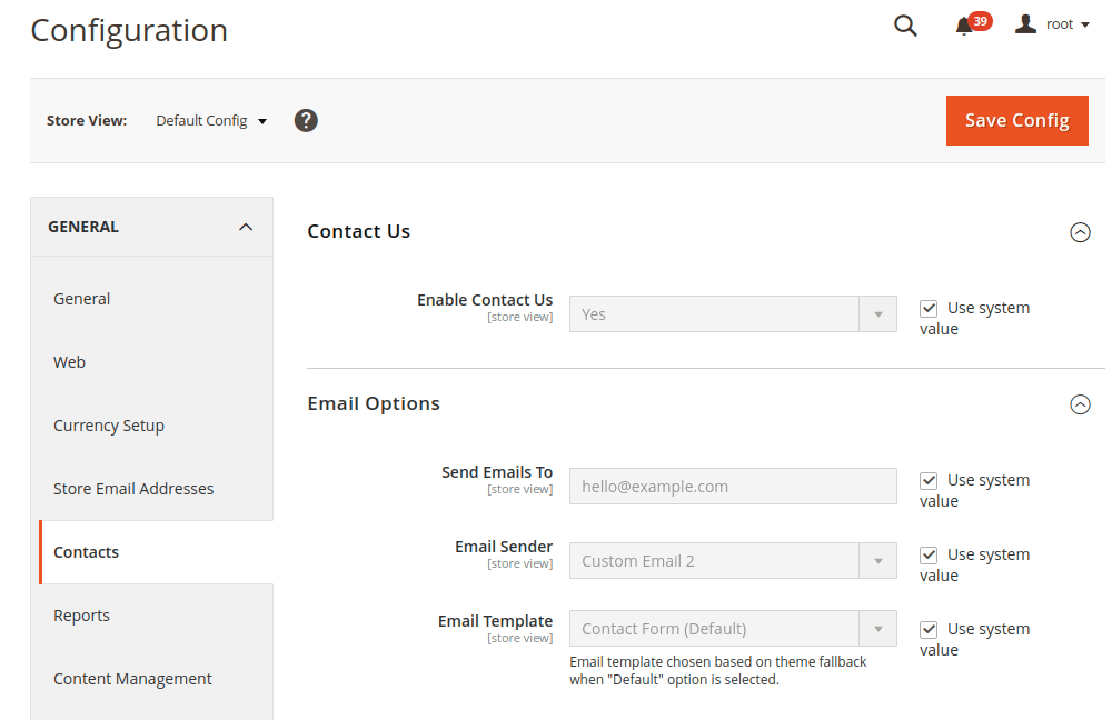 Magento 2 Contacts