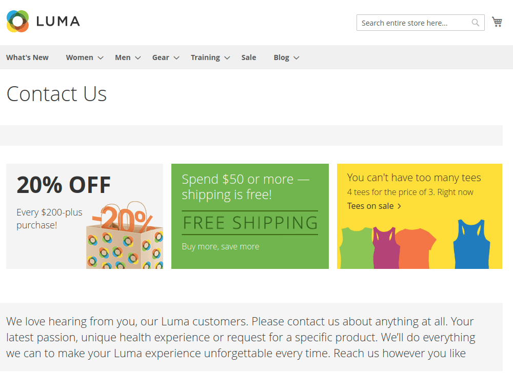 Magento 2 Contact Us Page