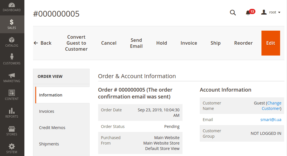 Magento 2 Change Order Customer