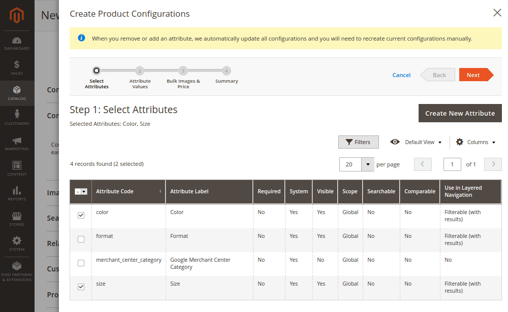 Magento 2 Create Product Configurations