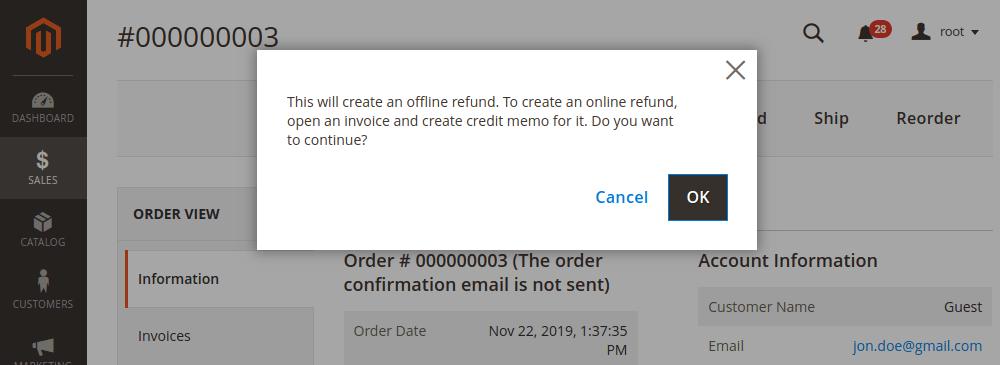 Magento 2 credit memo notification