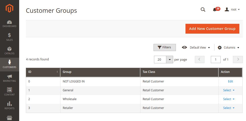 Magento 2 Customer Groups