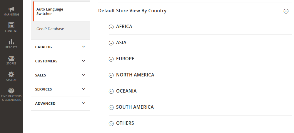 Magento 2 Default Store View by County