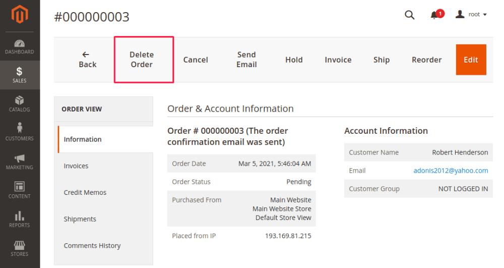 Magento 2 Delete Order
