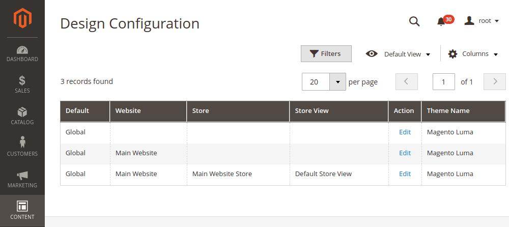 Magento 2 design configuration store