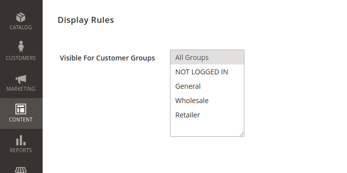 Magento 2 Display Rules Customer Groups