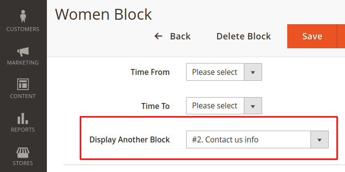 Magento 2 Display Rules Redirect Block