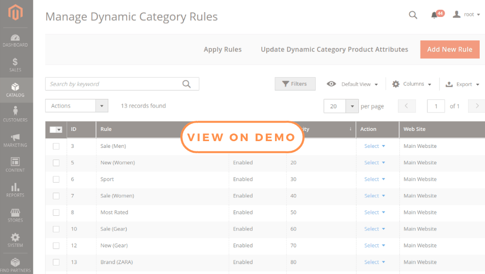 Magento 2 Dynamic Category Rules