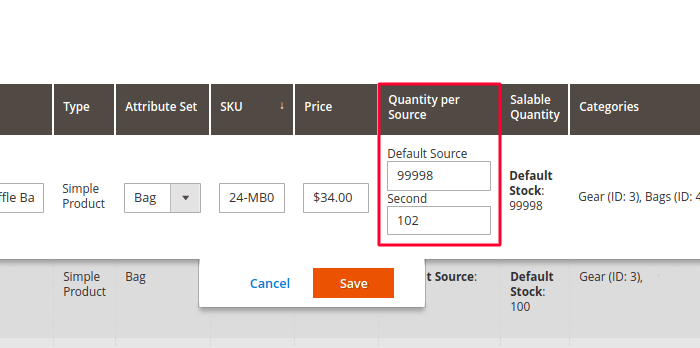 Magento 2 Edit Quantity per Source