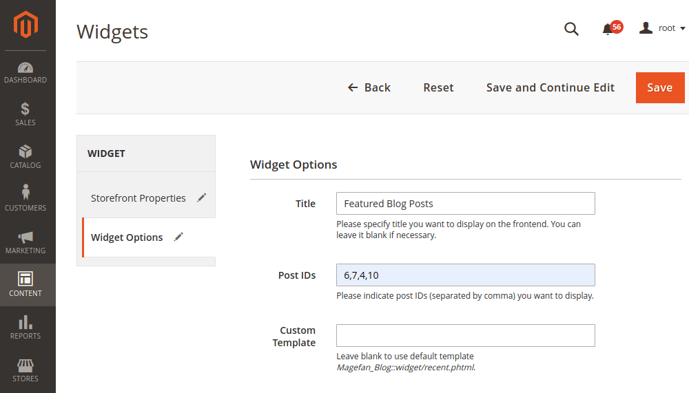 Magento 2 Featured Posts Widget Options