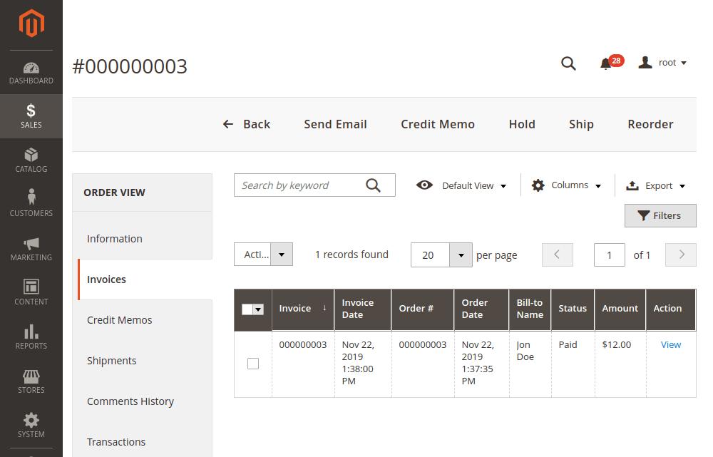 Magento 2 invoices credit memo