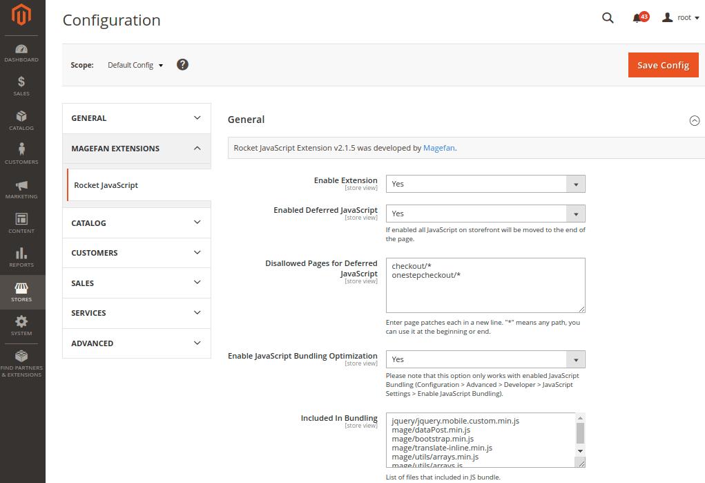 Magento 2 Rocket Javascript Extension Configuration