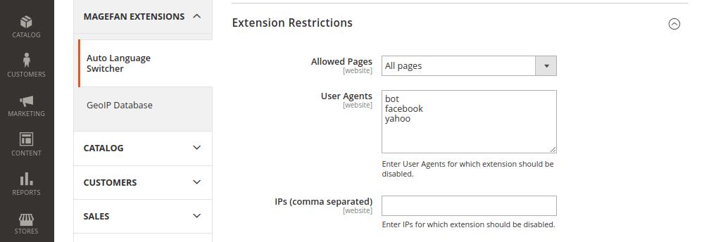 Magento 2 Language Switcher Restrictions