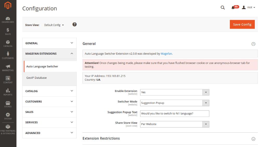 Magento 2 Language Switcher Suggestion POopup