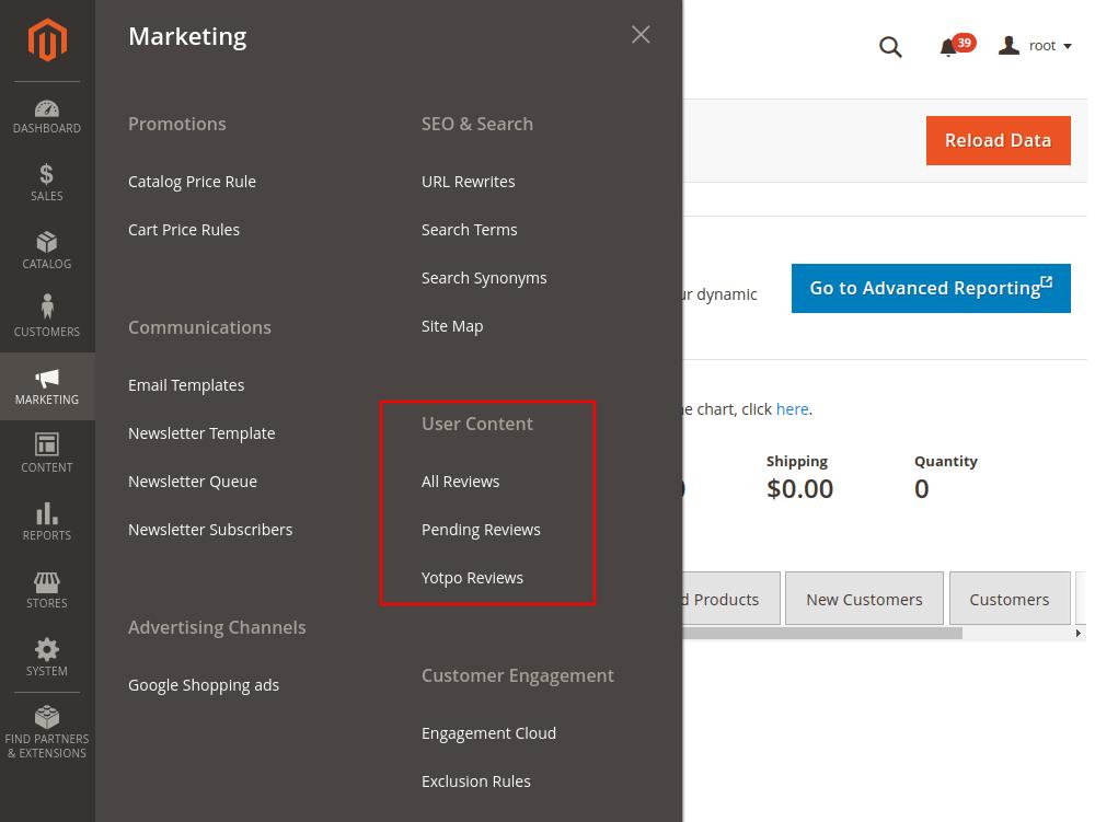 Magento 2 Markting Dashboard
