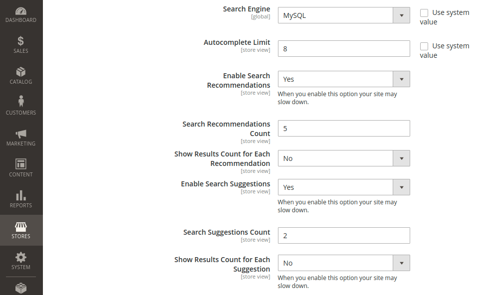 Magento 2 MySQL Search Engine