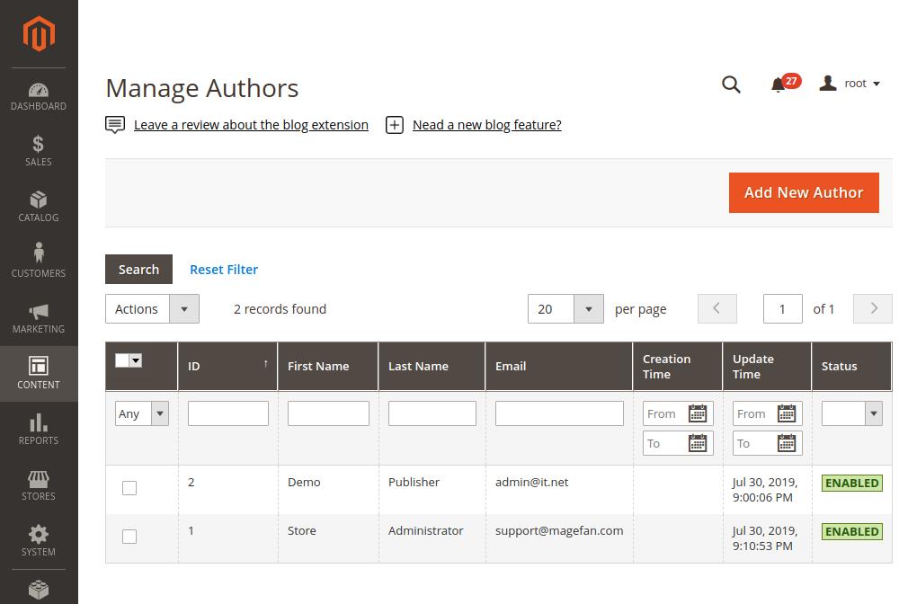 Magento 2 new author