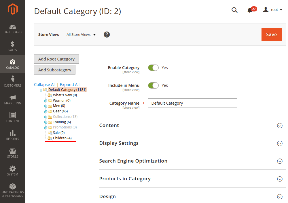 Magento 2 new categories