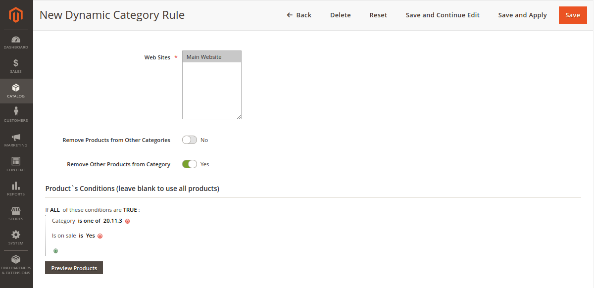 Magento  2 Dynamic Category Rule