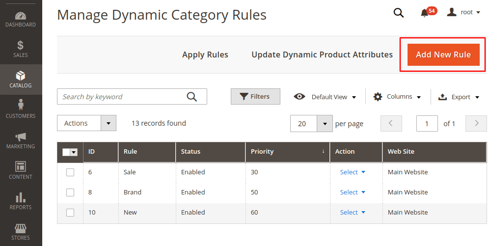 Magento 2 add new dynamic category rule