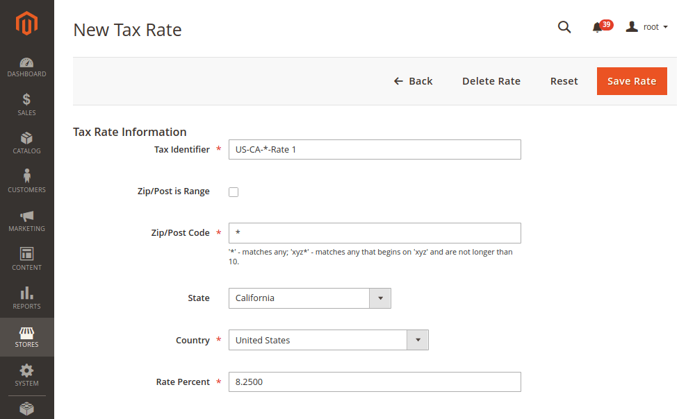 Magento 2 New Tax Rate