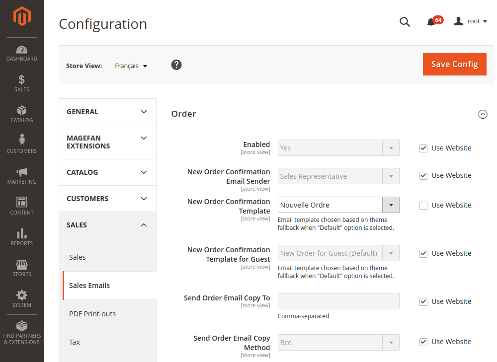 Magento 2 new template stores configuration