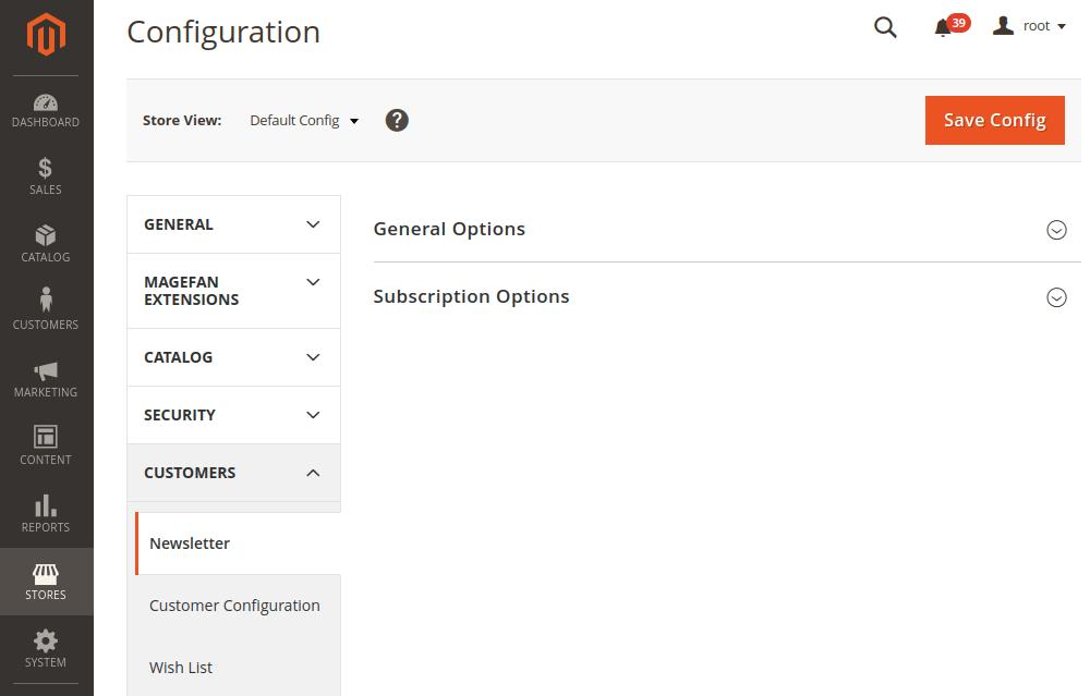Magento 2 Newsletter Configuration