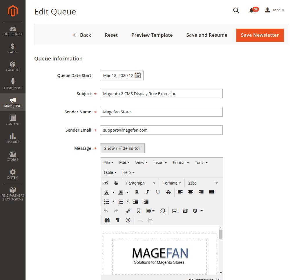 Magento 2 Newsletter Edit Queue