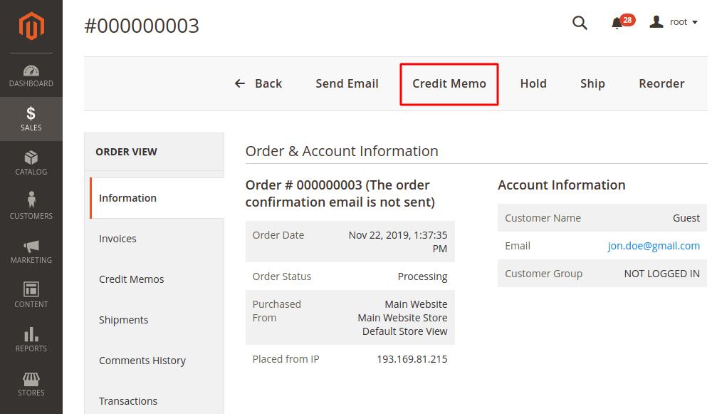 Magento 2 order credit memo