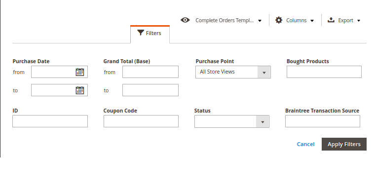 Magento 2 Order Grid Filters