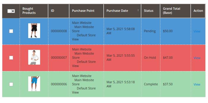 Magento 2 Order Status Color