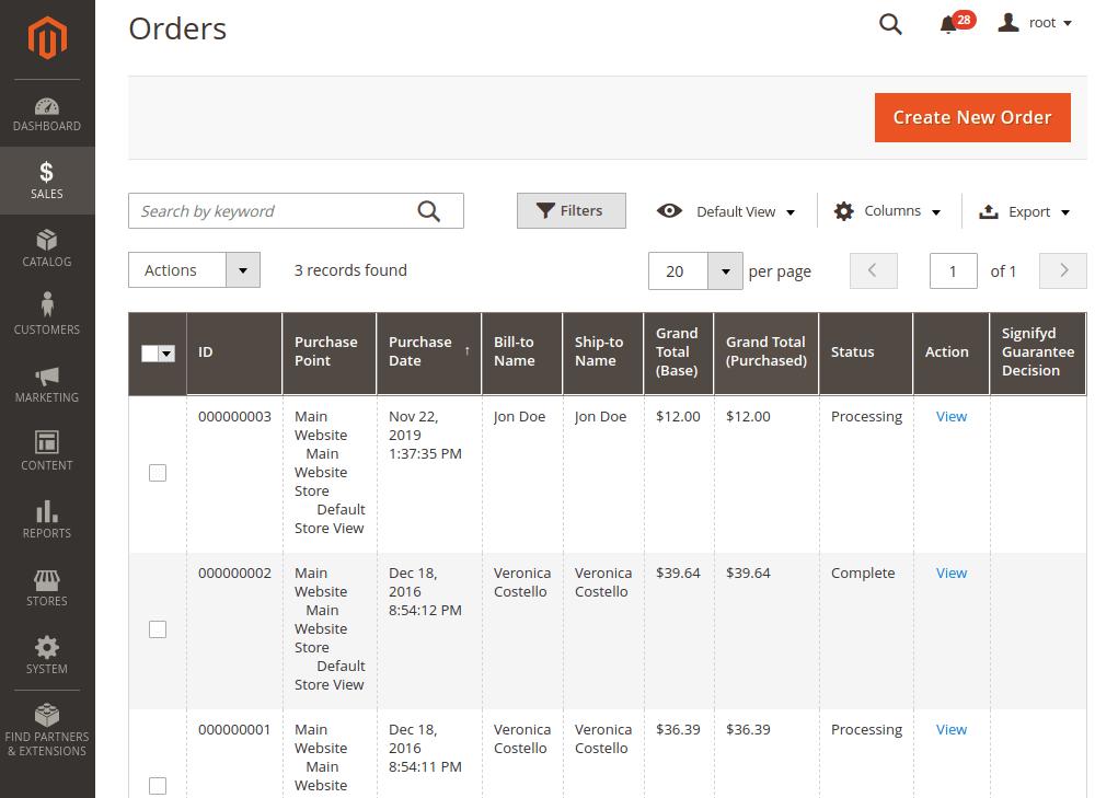 Magento 2 Orders Grid
