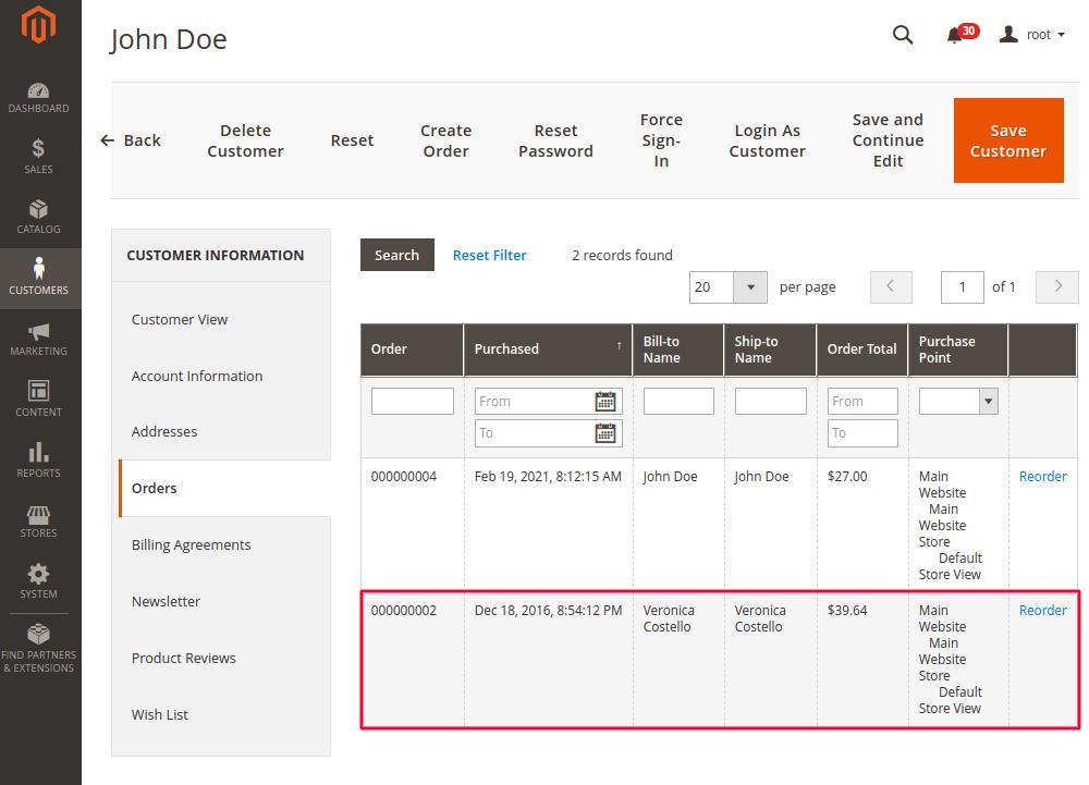 Magento 2 Customer Account