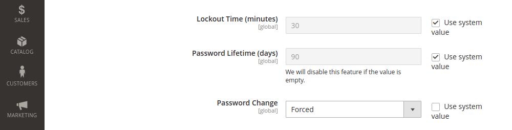 Magento 2 password change