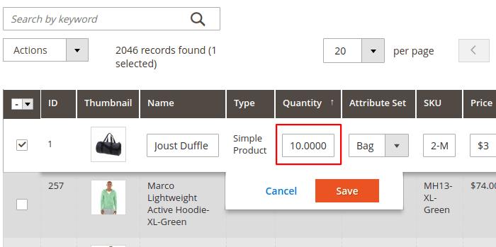 Magento 2 Product Grid Quantity Editing