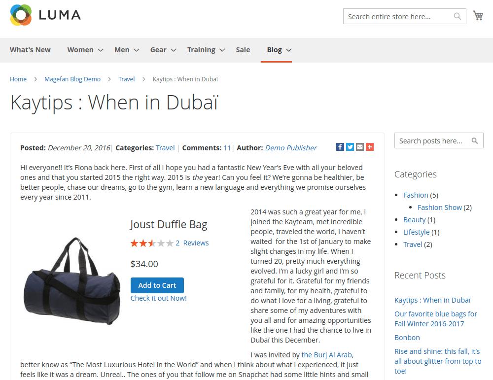 Magento 2 Product Widget in Blog Posts