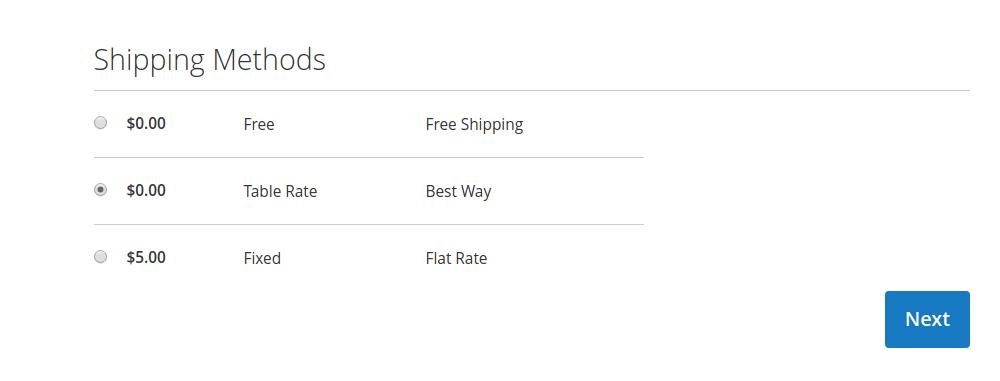 Magento 2 Shipping Methods