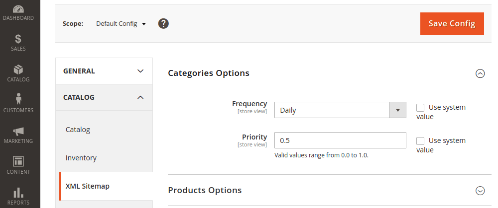 Magento 2 Sitemap Category Options