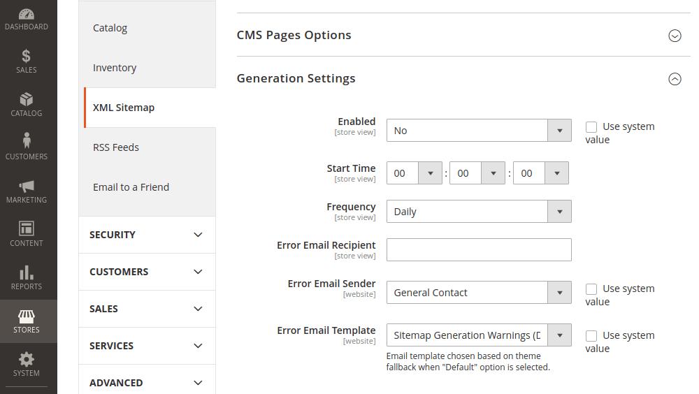 Magento 2 Sitemap Generation Settings