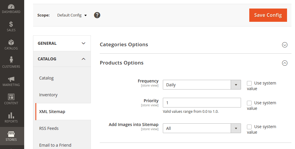 Magento 2 Sitemap Product Options