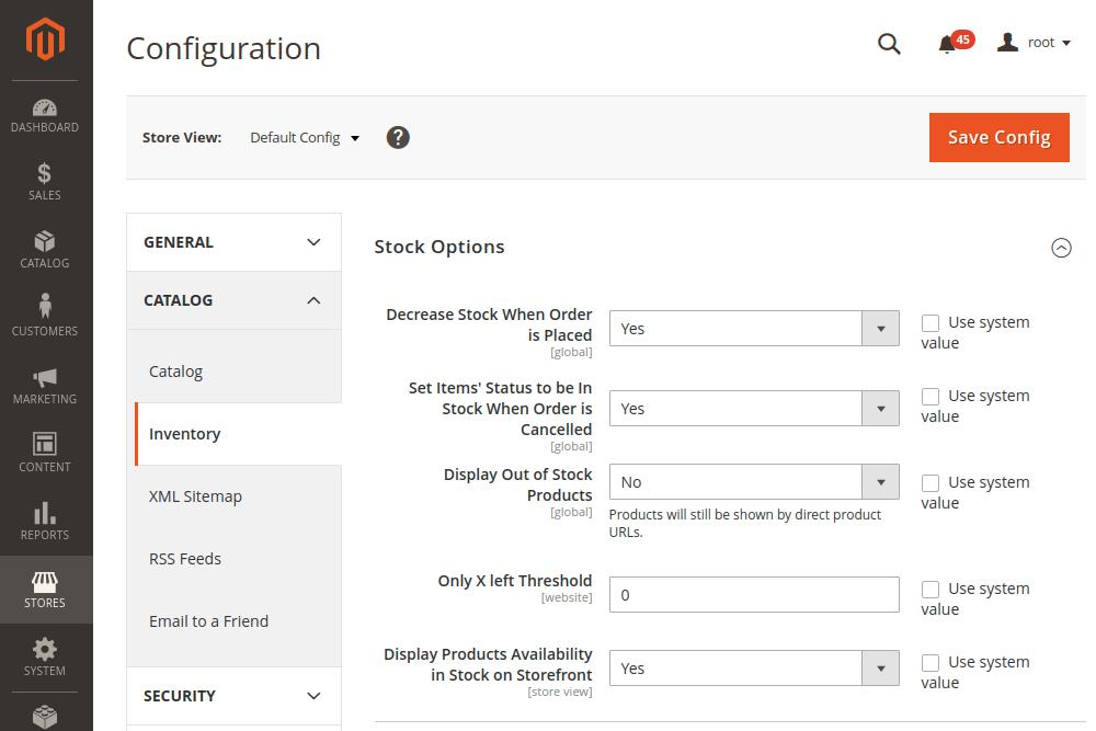 Magento 2 Stock Options