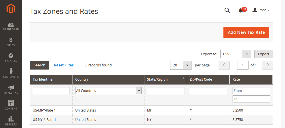 Magento 2 Tax Rates