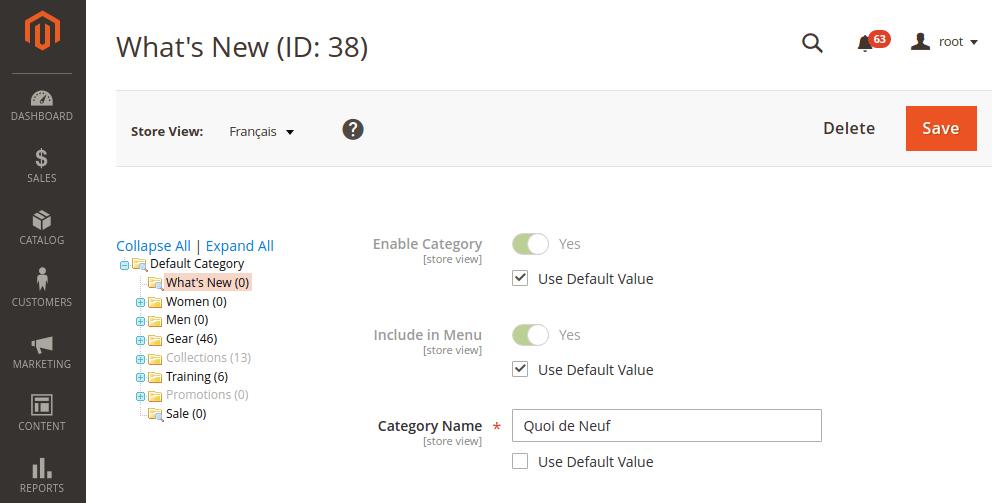 Magento 2 translated category name