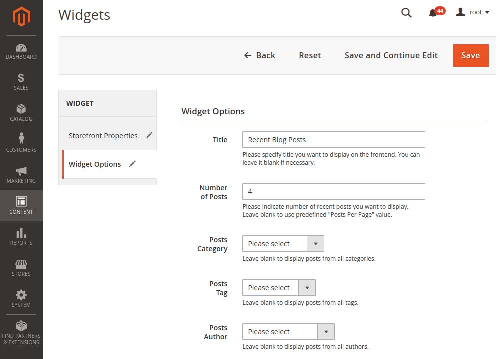 Magento 2 Widget Options