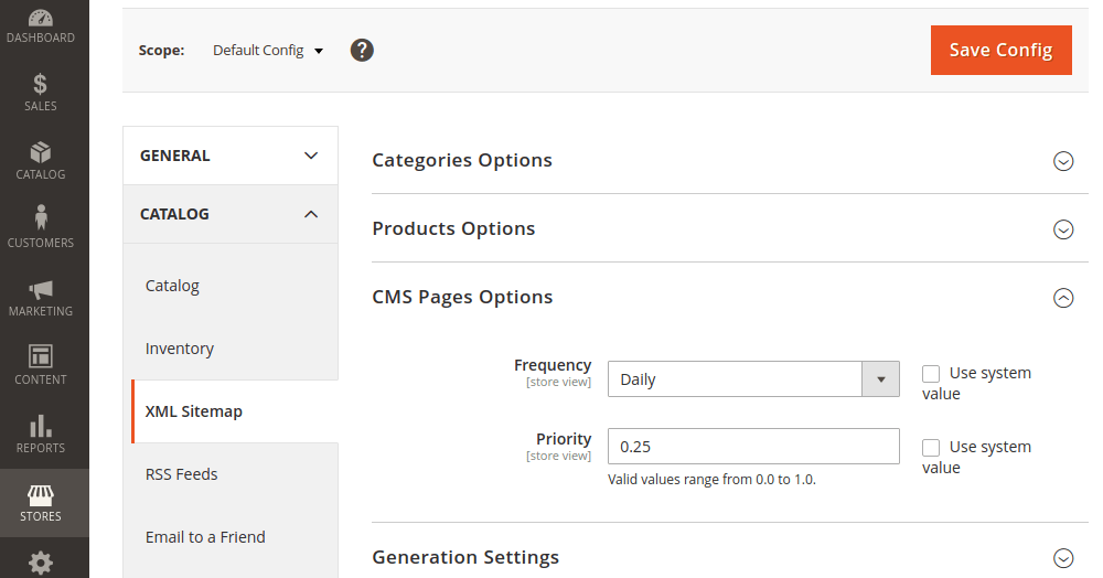 Magento 2 XML Sitemap CMS Pages Options
